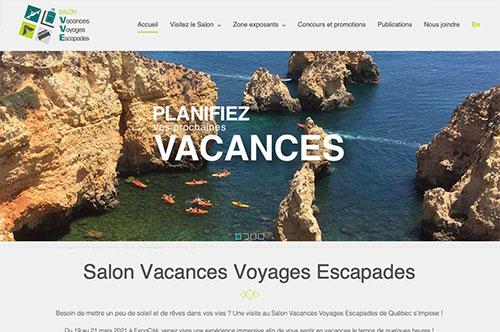 Conception de site Web Vacances Voyages Escapades, Québec