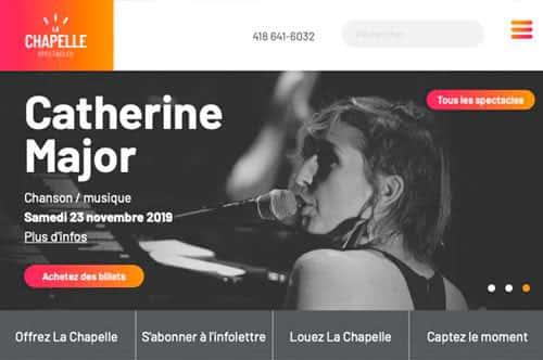Portefolio conception site internet La Chapelle spectacles par Dialoguenet.ca