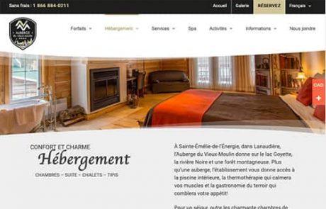 Conception de site Web Auberge du Vieux-Moulin, Lanaudière